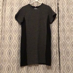 Short sleeve wool dress with leather neckline